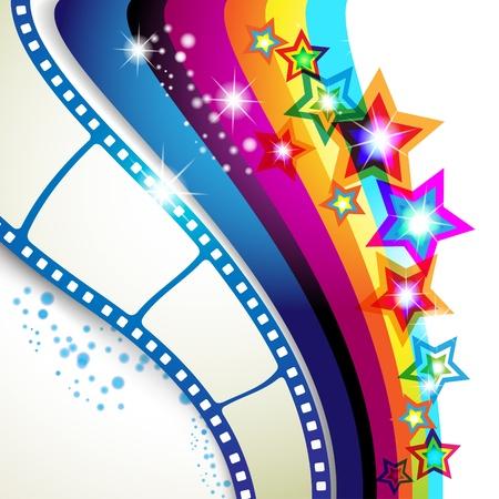 film strip: Film frames over colorful background