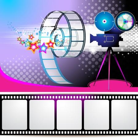 кинематография: Иллюстрация с кадров фильма и звезды над цветным фоном