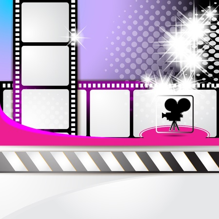 film star: Illustration with film frames and stars over colored background  Illustration