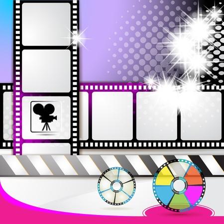 rollo pelicula: Ilustración con fotogramas de la película y estrellas sobre fondo de color  Vectores