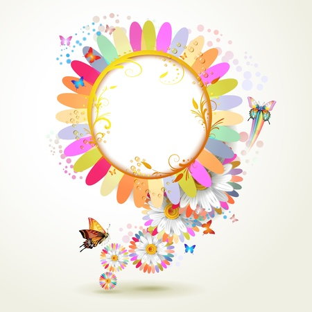 Floral background with butterflies and drops of water  Illustration