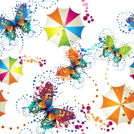 Seamless pattern with colored umbrellas and butterflies Vector
