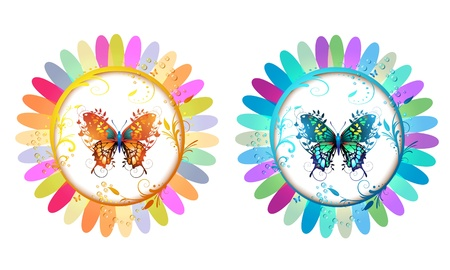 Two colored flowers with butterflies  Stock Vector - 10401191