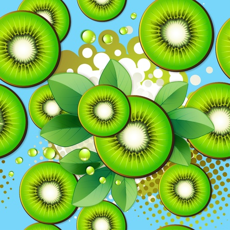 Seamless pattern with kiwi slices over colored background  Vector