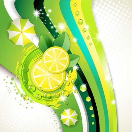 fleshy: Slices yellow lemon with drops and leaf over green background  Illustration