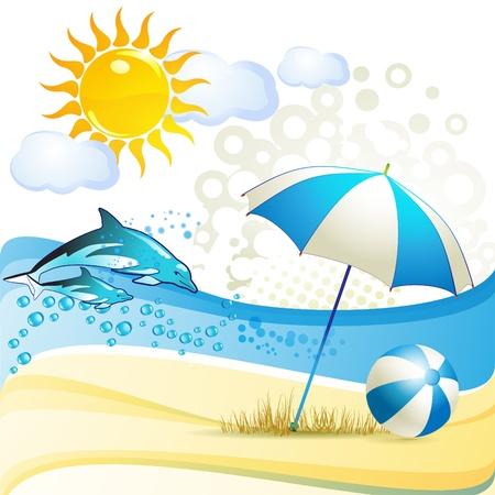sonnenschirm: Strand mit Sonnenschirm und Delfine springen im Wasser