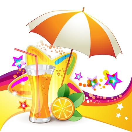 Glass of orange juice with slices orange and open umbrella  Vector