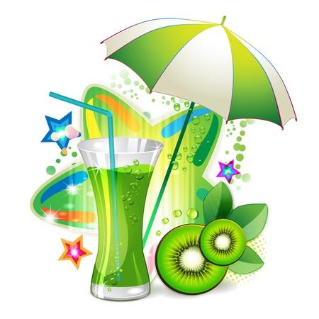 gastronomic: Glass of kiwi juice with slices orange and open umbrella