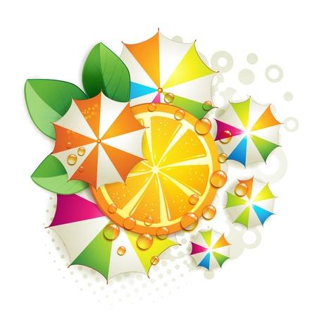 orange cut: Cortar naranja con hojas y sombrillas de colores