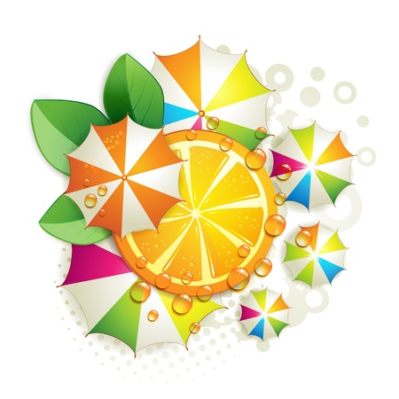 vegetables on white: Slice orange with leaf and colored umbrellas