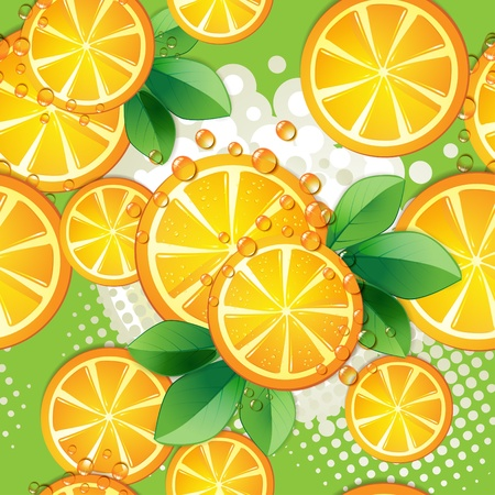 Seamless pattern with slice orange over colored background  Vector