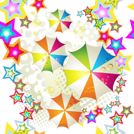 rainbow umbrella: Seamless pattern with colored stars and umbrellas