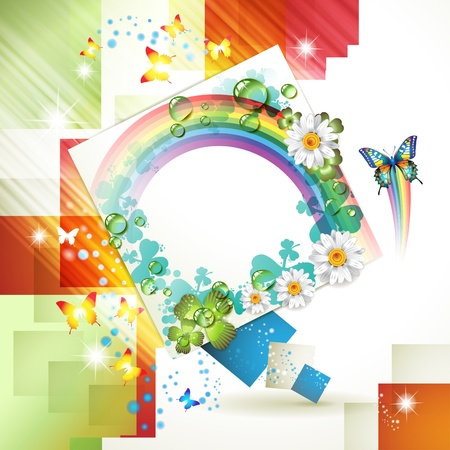 Abstract background with flowers, rainbow and drops of water Stock Vector - 10401220
