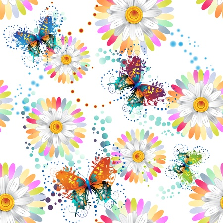 butterfly on flower: Seamless pattern with colored butterflies and flowers  Illustration