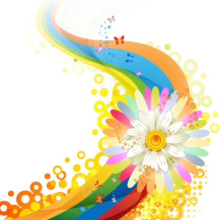 summer festival: Colorful background with butterflies and flower