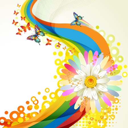 bright space: Colorful background with butterflies and flower Illustration