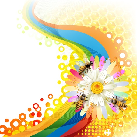 Bees and honeycombs over floral background Vector