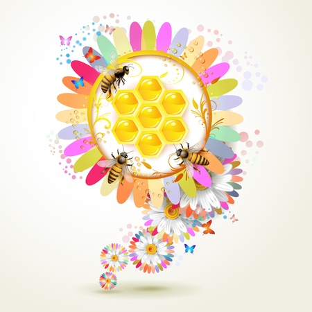 bee on white flower: Bees and honeycombs over floral background