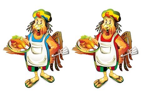 Cartoon di cocco cuoco con chicke affumicato
