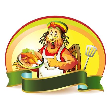 pollos asados: Cocinero de dibujos animados de coco con pollo ahumado