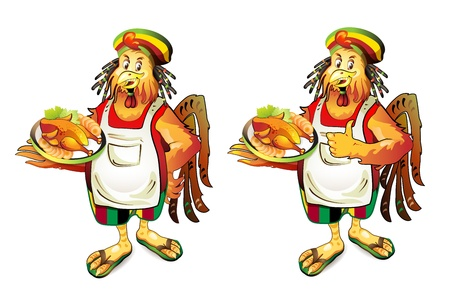 browned: Cartoon cook coconut with smoked chicken