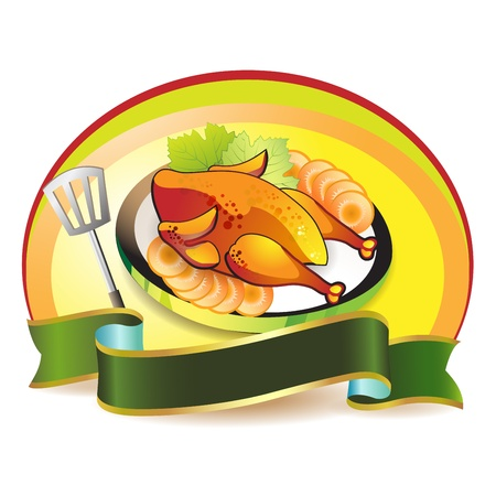 Plate with smoked chicken over white  Stock Vector - 10641506