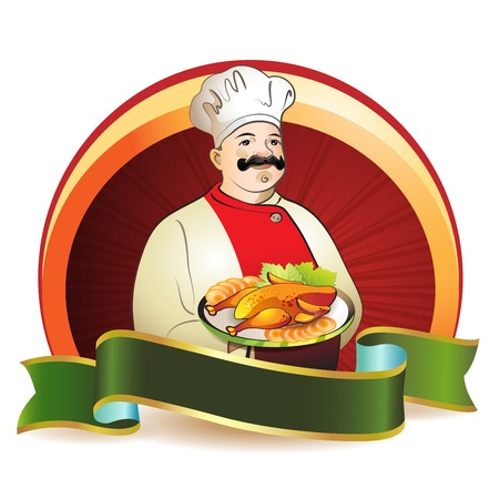 smoked: Chef with plate and smoked chicken Illustration