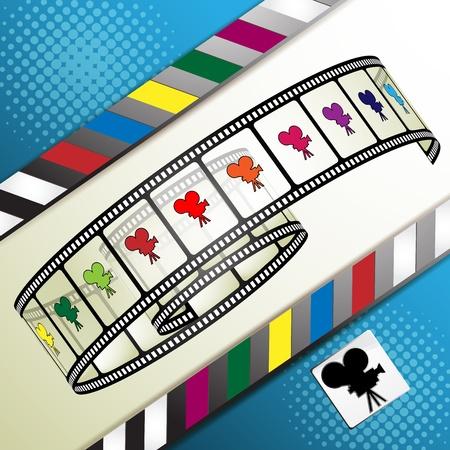 cinema strip: Film frames with colored camera