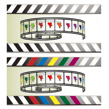 Film frames with colored camera Vector