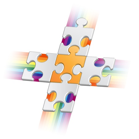 collaborating: Orange puzzle piece on grey pieces with jets Illustration