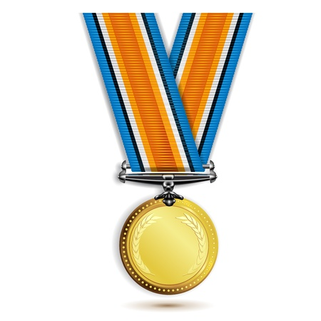 Gold medal with ribbon isolated on white  Vector