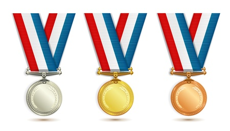 gold silver bronze: Set of gold, silver and bronze medals with ribbon over white background Illustration
