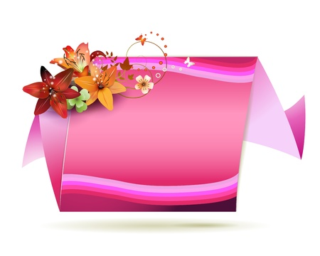 Origami pink background with flowers and butterflies  Vector