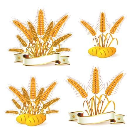 wheat crop: Orejas de trigo con cinta y pan  Vectores