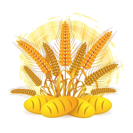 Wheat ears with bread Stock Vector - 10641514