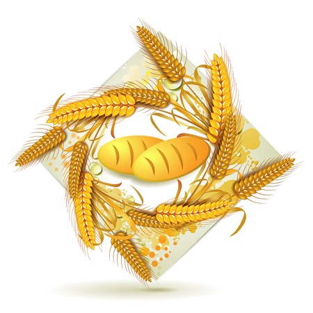 Wheat ears with bread Vector