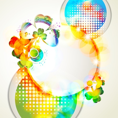 Colored abstract background with clover and drops of water  Vector