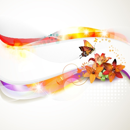 Colorful background with butterfly and flowers  Vector