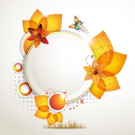 muguet fond blanc: Conception de banni�re avec des feuilles, des fleurs et des papillons
