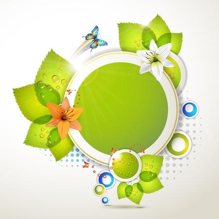 celebrate life: Dise�o de banners con hojas, flores y mariposas Vectores