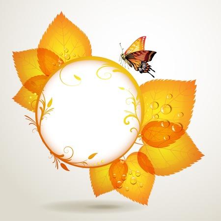 celebrate life: Banner de dise�o con hojas y mariposas Vectores