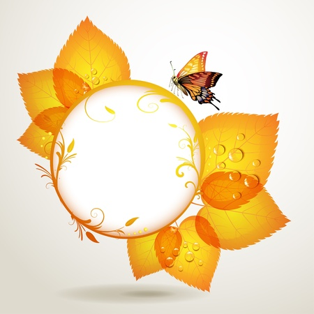 Banner design with leaf and butterfly  Stock Vector - 10867418