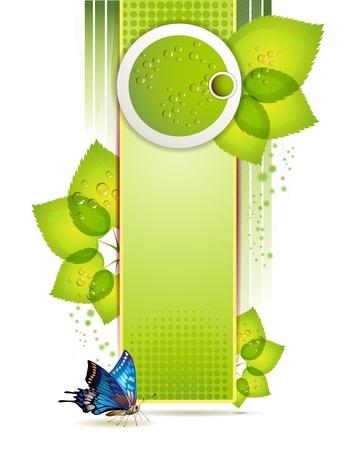celebrate life: Banner de dise�o con hojas y gotas Vectores