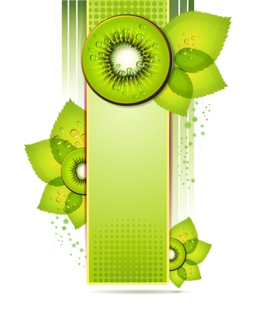 exotic fruits: Green banner with kiwi slices over white background