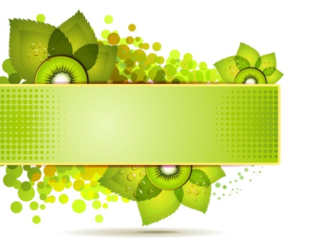 Green banner with kiwi slices over white background Vector