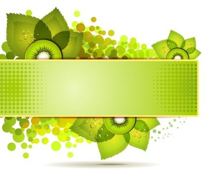kiwi: Green banner with kiwi slices over white background