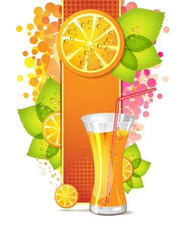 Glass of orange juice with slices orange Stock Vector - 10867679