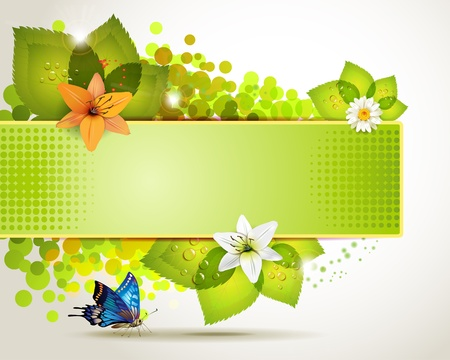 butterfly border: Banner design with leaf, flowers and butterflies