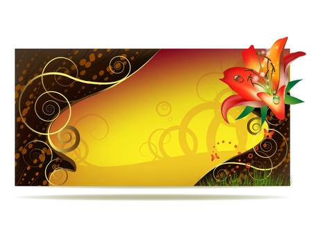 lily leaf: Colored background with lily and curly gold decoration  Illustration
