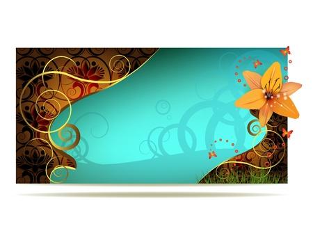 soumis: Fond de couleur avec une décoration d'or de lys et bouclés Illustration